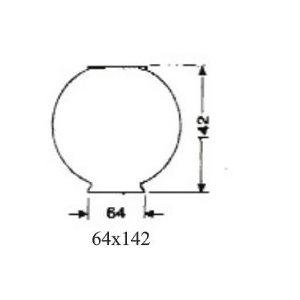 Globe decor 64mm x 142mm