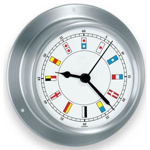 """Horloge 'Sky' avec des drapeaux nautiques 3 1 / 2 """" inox."""