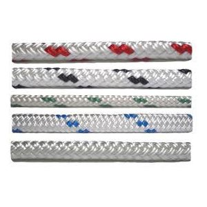 """Cordage polyester double tressage 1 / 4"""" (6.4 mm) marine traceur blanc"""