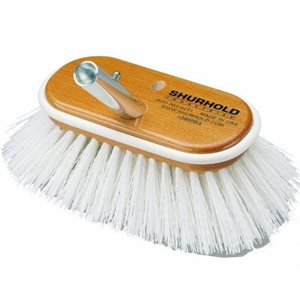 """Deck brush 6"""" with extra stiff white polypropylene bristles easily and positively locks into any Shurhold handle"""
