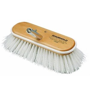 """Deck brush 10"""" with extra stiff white polypropylene bristles, easily and positively locks into any Shurhold handle"""