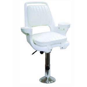 """Ensemble de chaise de capitaine avec chaise, coussins, piédestal et glissière de siège réglables - blanc 21 """"H x 23,5"""" l x 24 """"P"""