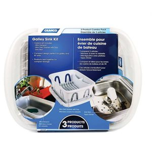 Galley / RV sink kit with dish drainer, dish pan and sink mat