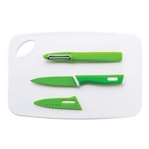 """Cutting board set with paring knife and peeler 11.7"""" x 7.7"""""""