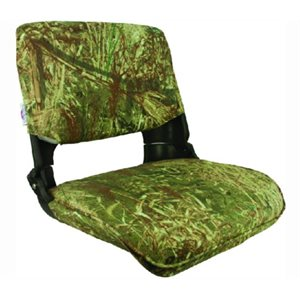 "Skipper seat with cushion camo 17"" D x 20"" W x 18"" H"