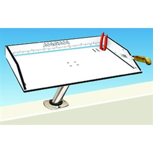 """Bait / filet mate table with LeveLock all angle adjustable fish rod holder mount 20"""" x 12 3 / 4"""""""
