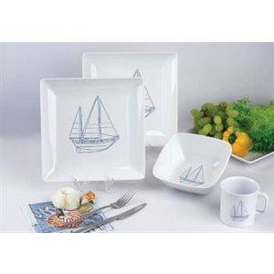Dinner set 16 piece sailboat design square