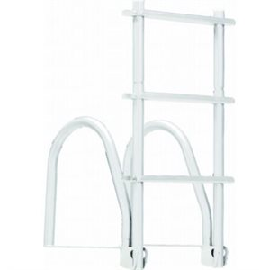 Dock ladder flip up 4 step white galvanized
