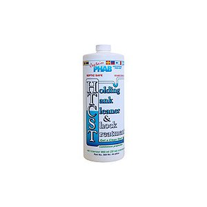 Captain Phab holding tank cleaner and shock treatment