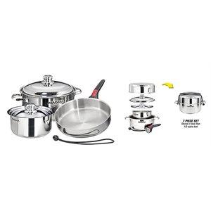 "Stainless Steel Gourmet 7 Piece ""Nesting"" Cookware Set"