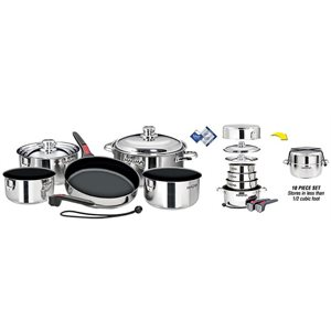 """Stainless Steel Gourmet 10 Piece """"Nesting"""" Cookware Set with Teflon® Select Non-Stick Coating"""