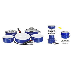"""10 Piece Gourmet """"Nesting"""" Cobalt Blue Stainless Steel Cookware Set with Ceramica® Non-Stick"""
