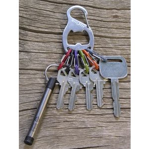 Keyrack & bottle opener stainless with 6 s-biners